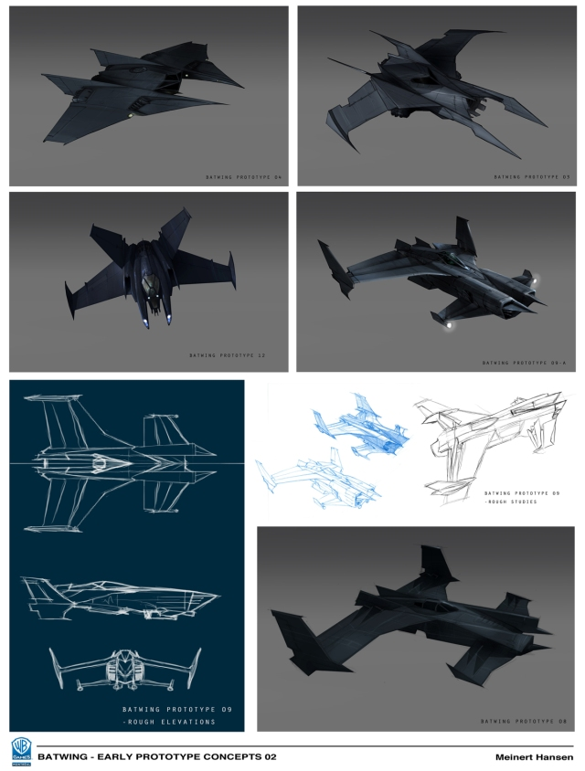 Greyscale roughs. The top left one is my nod to the Flying Sub form Voyage to the Bottom of the Sea. Since it's not really a submarine, that was out for sure. The bottom one is loosely based on an actual American experimental plane, the XFV-12A.