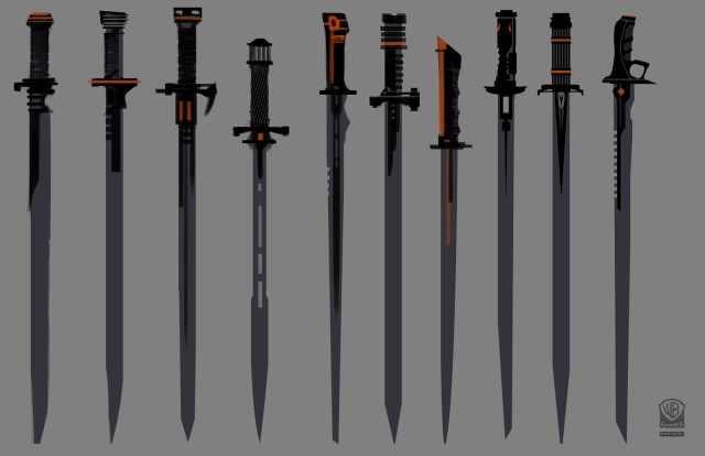 Here are some concepts for Deathstroke's swords. Finding the right balance of elegance, function and high-tech was the challenge.